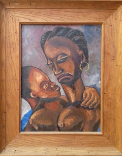 Early Haitian Picasso-like Modernist Mother and Child oil painting Haiti