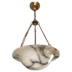 Petit Art Deco Alabaster Pendant Light with White & Black Veins & Stunning Chain