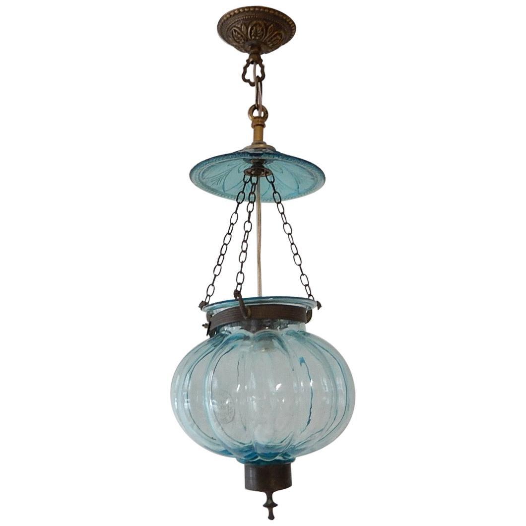 Petit Belgium Aqua Blue Blown Glass Lantern 1890s Chandelier