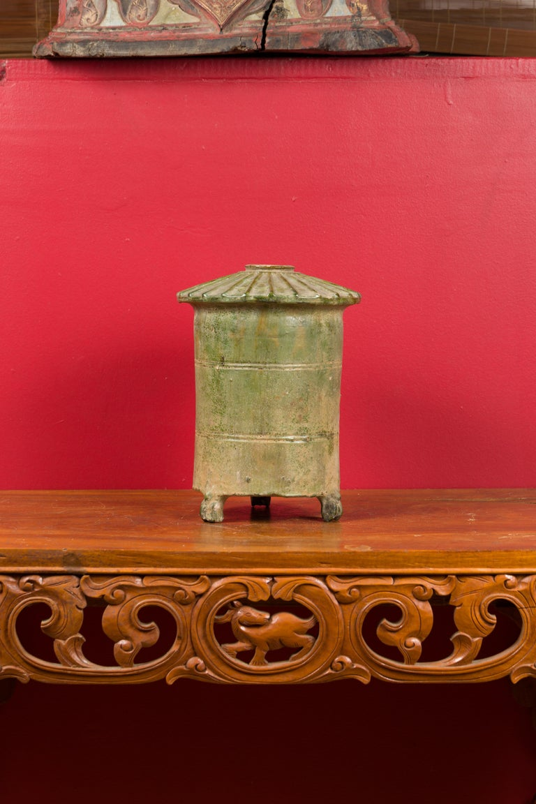 Glazed Petit Chinese Ming Dynasty 17th Century Terracotta Granary with Verdigris Patina For Sale