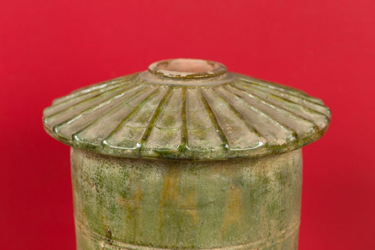 18th Century and Earlier Petit Chinese Ming Dynasty 17th Century Terracotta Granary with Verdigris Patina For Sale