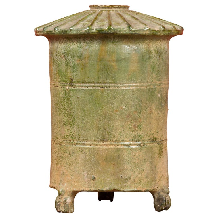 Petit Chinese Ming Dynasty 17th Century Terracotta Granary with Verdigris Patina For Sale
