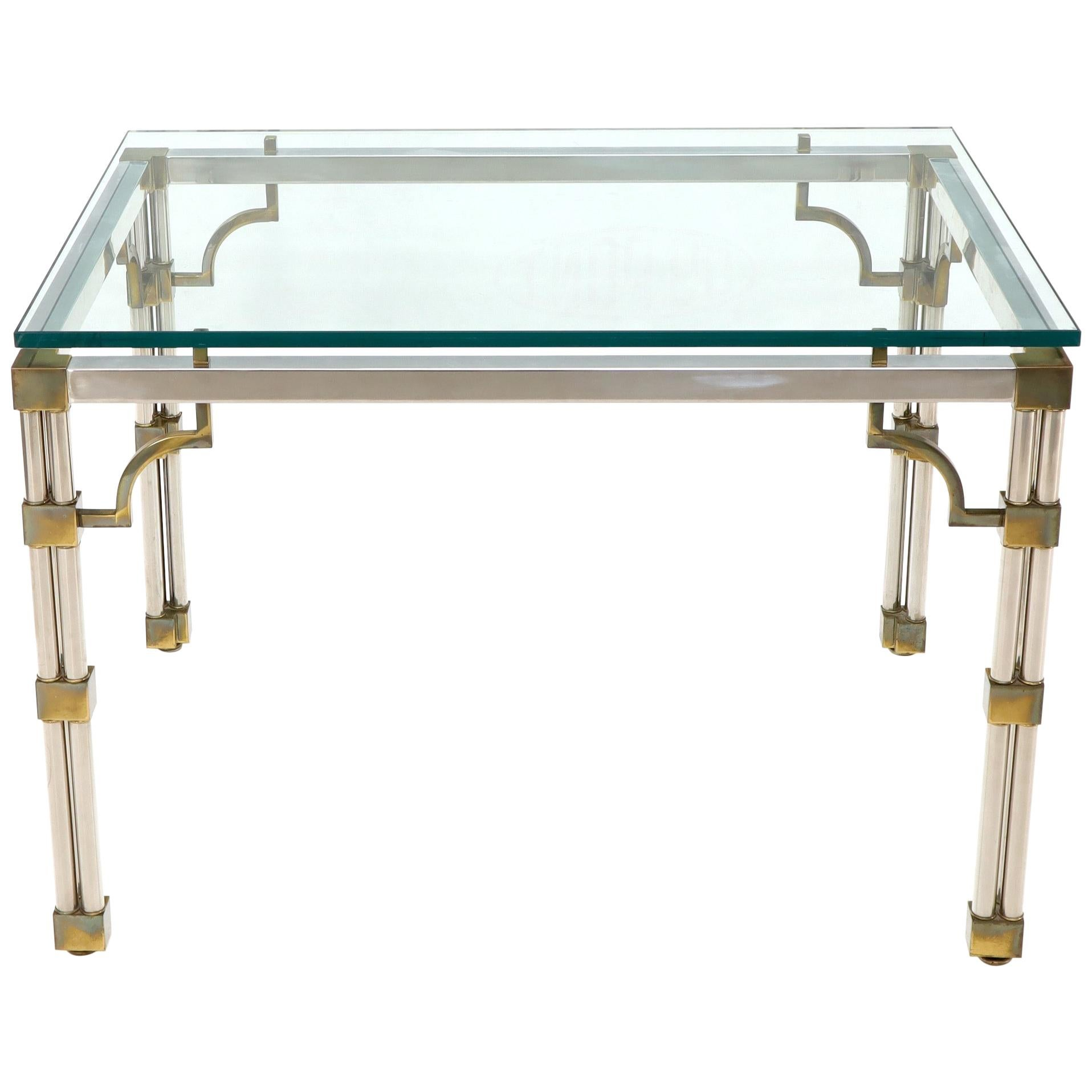 Petit Chrome Brass and Thick Glass Top Dining or Writing Table