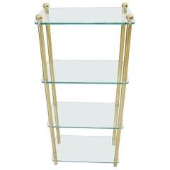 Petit Compact Class and Brass 4-Tier Étagère Shelf Bookcase