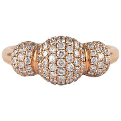 Petit Domed Pave Diamond Ring 18 Karat Rose Gold