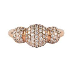 Petit Domed Pave Diamond Ring 18 Karat Rose Gold