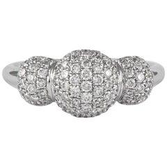 Petit Domed Pavé Diamond Ring 18 Karat White Gold