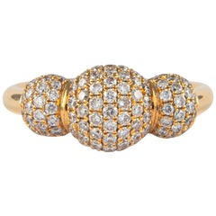 Petit Domed Pave Diamond Ring 18 Karat Yellow Gold