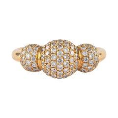Petit Domed Pave Diamond Ring 18 Karat Yellow Gold