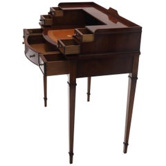 Petit English Multi Drawer Compartment Mahogany Leather Top Desk