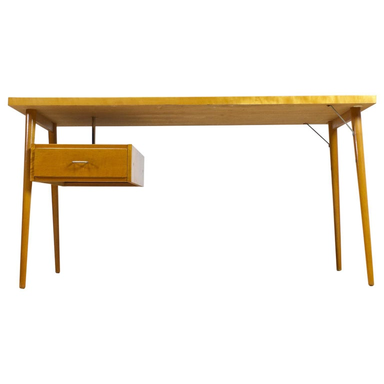Petit Freestanding Desk in Yellow Birch from Czech 1950s, Mid-Century Modern For Sale