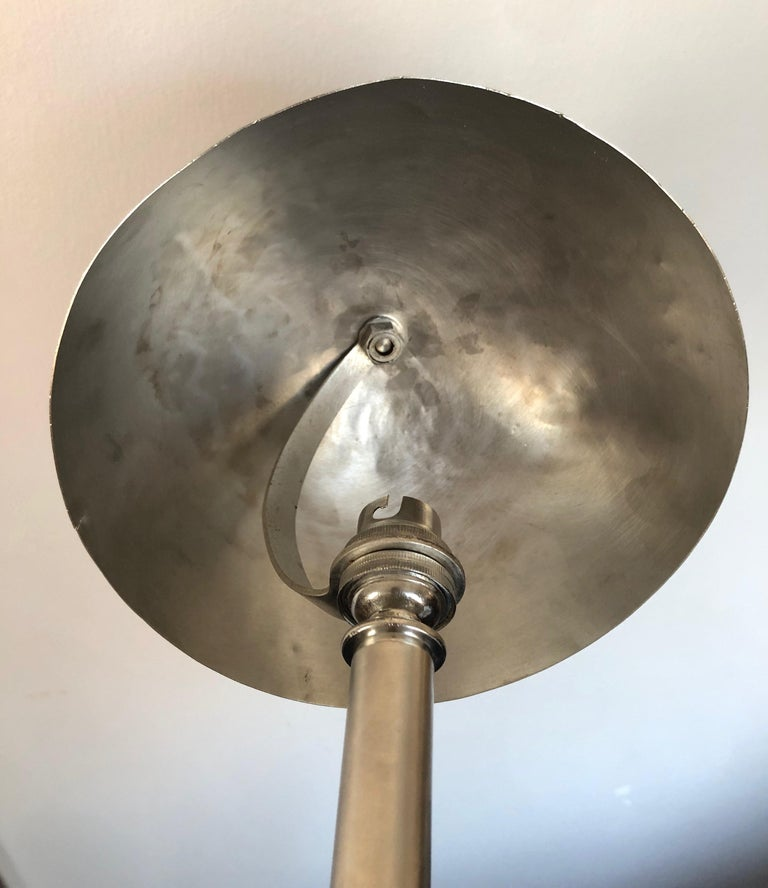 Petit French Art Deco Nickeled Bronze Table Lamp For Sale 4