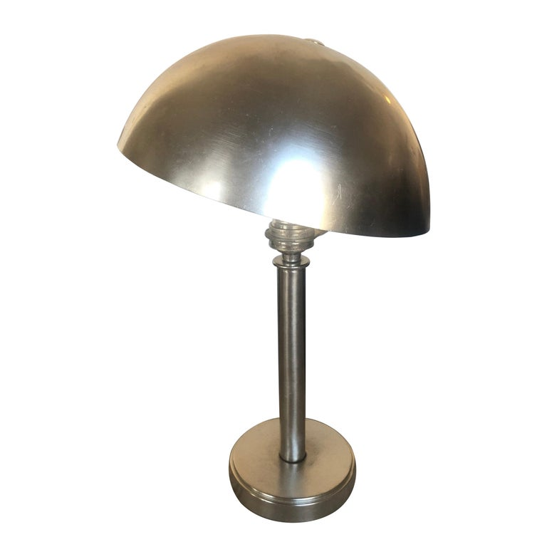 Petit French Art Deco Nickeled Bronze Table Lamp For Sale