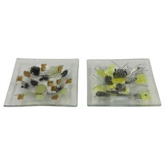 Petit Fused Abstract Glass Vessels by Frances and Michael Higgins Signed