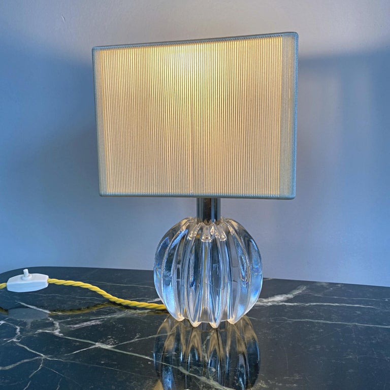 Petit Midcentury Venini Murano Blown Glass Table Lamp, 1950s, Italy In Good Condition For Sale In Vienna, AT