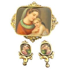 """Petit Parure"" Brooch and Earrings in Original Fitted Case, Italy, 1870"
