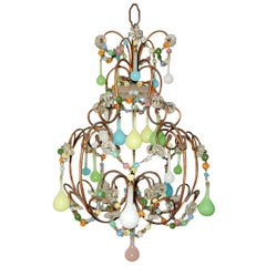 Petit Rainbow Colors Opaline Drops Beaded Swags Chandelier, circa 1920