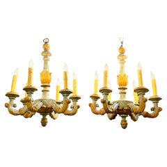 Petite 18th Century Italian Carved and Painted 6-Light Chandeliers