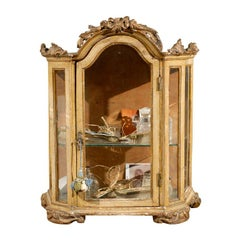 Petite 18th Century Venetian Painted Wood Rococo Vitrine with Carved Crest