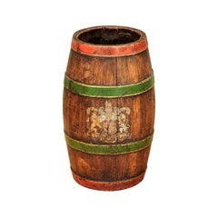 Petite 1900s Rustic English Edwardian Wooden Barrel with Green and Red Accents