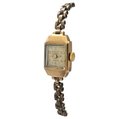 Petite 1940s Vintage 9 Karat Gold Ladies Watch with Gold Filled Strap