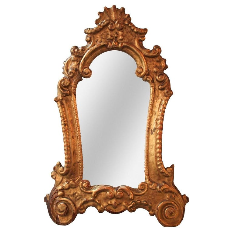 Petite 19th Century Italian Baroque Giltwood Mirror For Sale