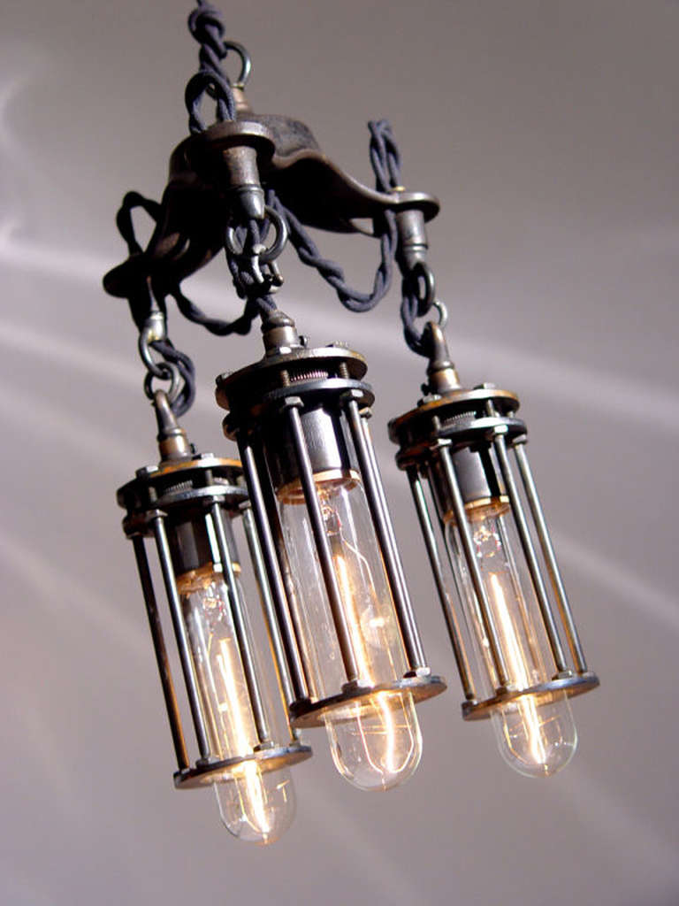 Machine Age Petite 3 Cage Industrial Chandelier For Sale