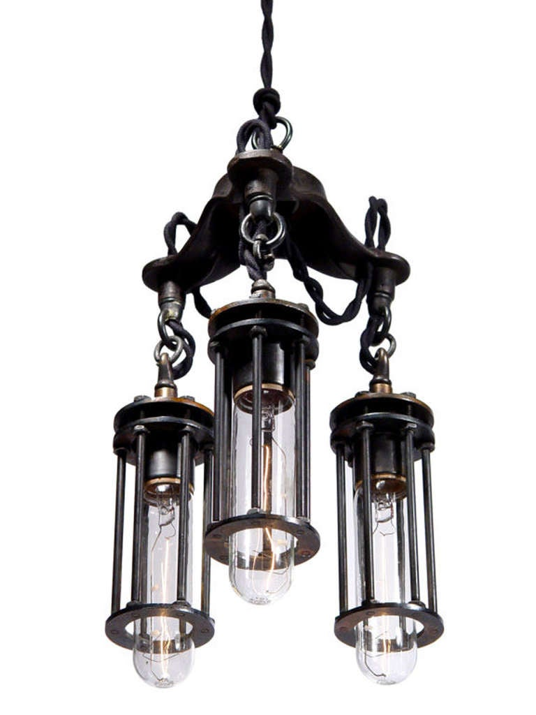 American Petite 3 Cage Industrial Chandelier For Sale