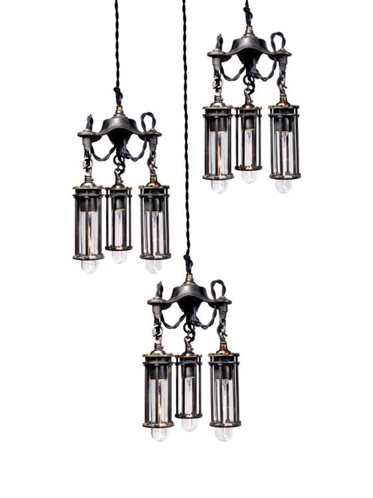 Petite 3 Cage Industrial Chandelier In Good Condition For Sale In Peekskill, NY