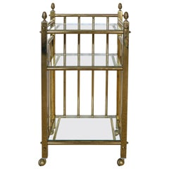 Petite 3-Tier Brass Rolling Cart Side Table with Glass Shelves