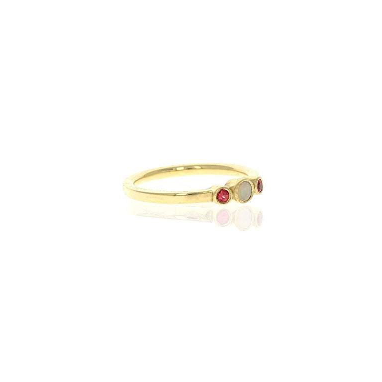 The Petite Alice is three stone ring. The number 3 stands in symbolism of the planet Jupiter which governs good fortune, wealth and success.  This ring in photos is a size 6 and ready to ship. Please contact for another size.  • 18kt yellow gold •