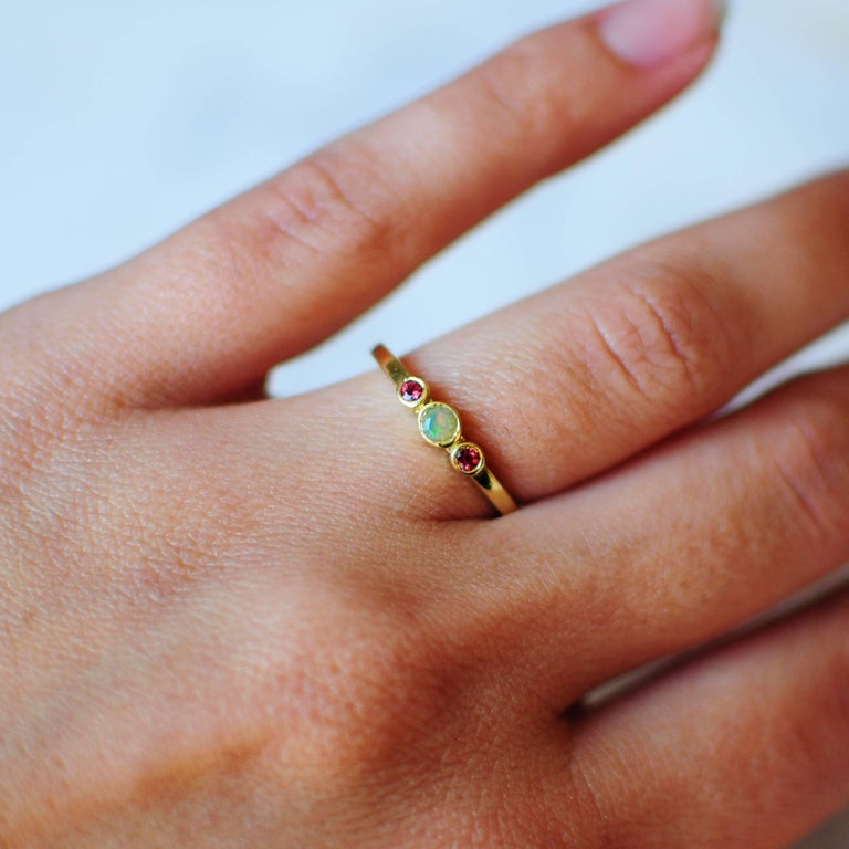 Contemporary Petite Alice Ring 18 Karat Rose Gold Opal and Pink Spinel For Sale