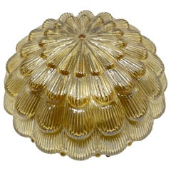 Petite Amber Glass Flushmount Ceiling Light Massive Leuchten, Germany