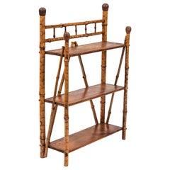 Petite Antique Bamboo 3-Tier Standing Shelf
