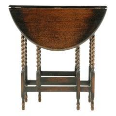 Petite Antique Barley Twist Table, Tiger Oak Gateleg Table, Lamp Table, B2370