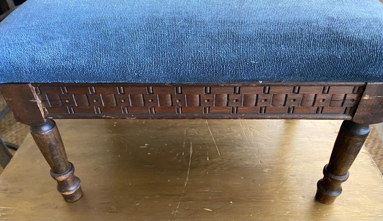 Victorian Petite Antique Carved Wood Low Footstool For Sale