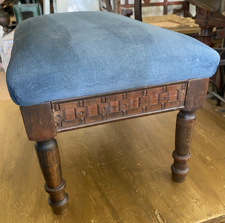 European Petite Antique Carved Wood Low Footstool For Sale