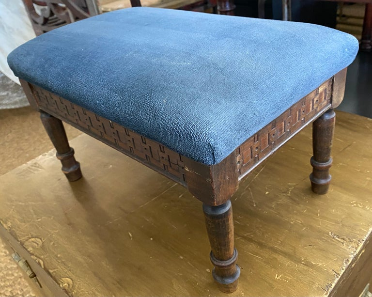 Hand-Carved Petite Antique Carved Wood Low Footstool For Sale