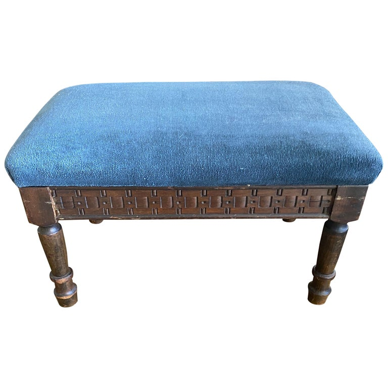 Petite Antique Carved Wood Low Footstool For Sale