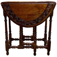 Petite Antique English Oak Side Sofa Wine Table Drop-Leaf Gate Leg Carved Oval