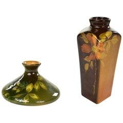Petite Antique Floral Vases 1 Rookwood Pottery Olga Geneva Reed & 1 J.B. Owens