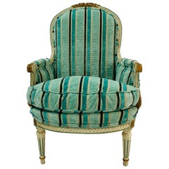 Petite Antique French Carved Painted Louis XVI Style Bergère Chair, circa 1920