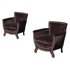 Petite Art-Deco Club Chairs in Dark Chocolate Velvet by Otto Schulz, Pair