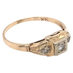 Petite Art Deco Gold and Diamond Ring