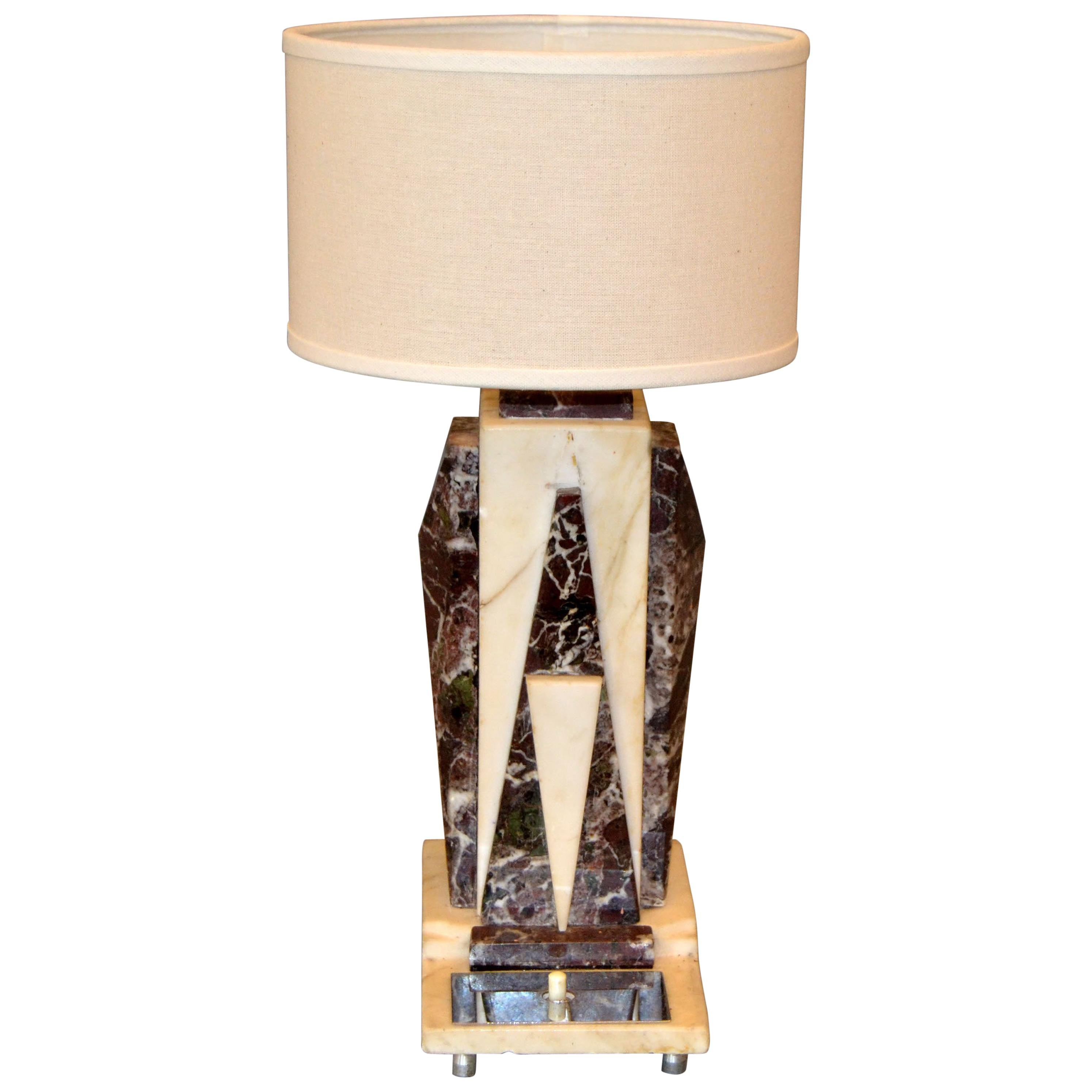 Petite Art Deco Italian Marble and Chrome Bedside Table Lamp with Round Shade