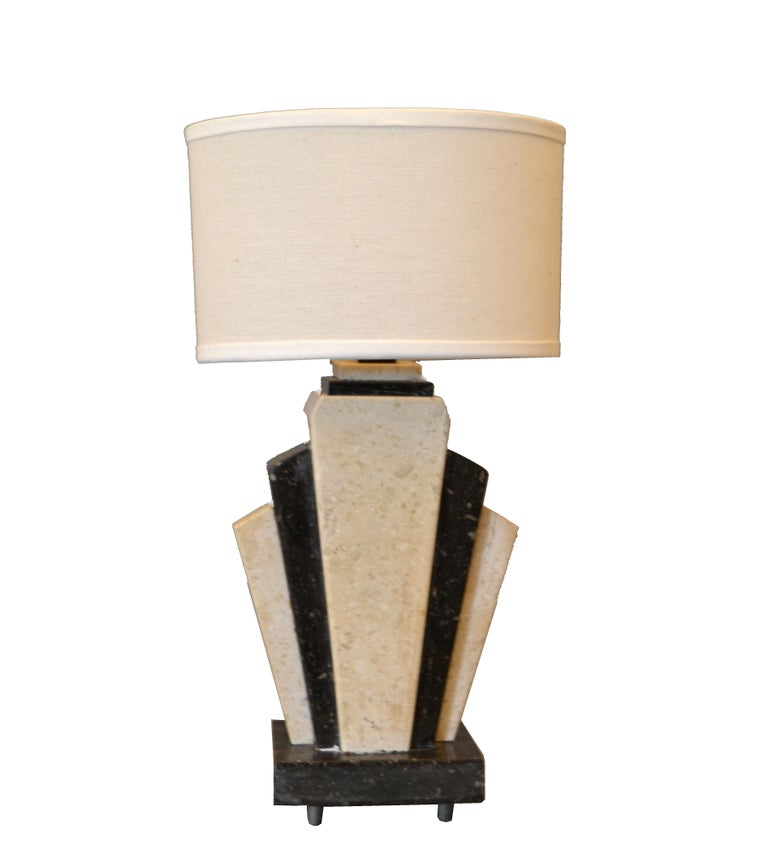 Petite Art Deco Italian Marble Bedside Table Lamp with Oval Shade For Sale 5