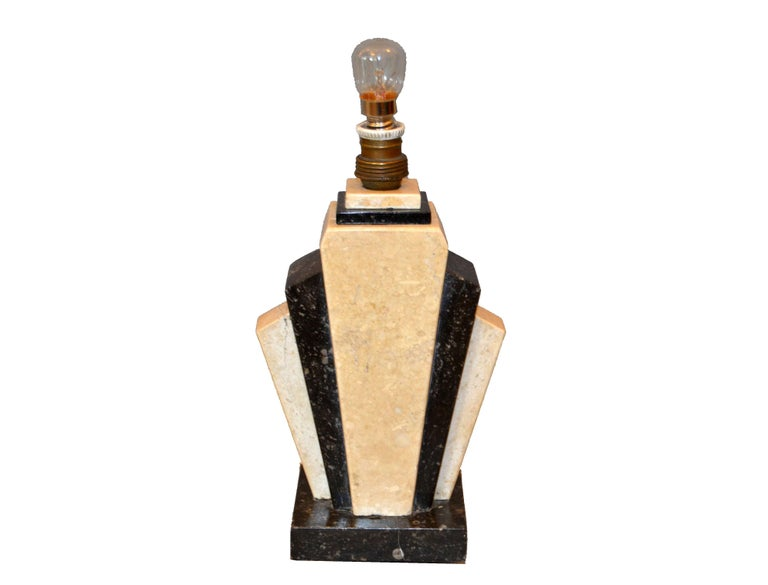 Petite Art Deco marble bedside table or side table lamp made in the late 1930s from Italy. It comes with an new oval fabric shade. In perfect working condition and is wired for Europe. It can be re-wired prior shipping. Uses a max 25 watts E14