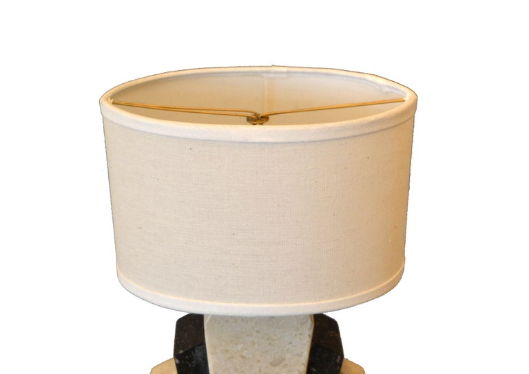 Petite Art Deco Italian Marble Bedside Table Lamp with Oval Shade In Good Condition For Sale In Miami, FL