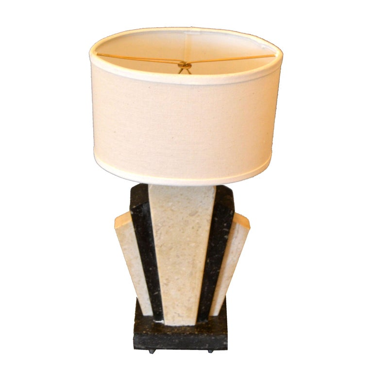 Petite Art Deco Italian Marble Bedside Table Lamp with Oval Shade For Sale 4