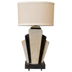 Petite Art Deco Italian Marble Bedside Table Lamp with Oval Shade